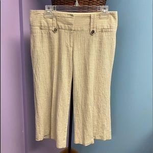 Cute Linen Khaki Linen Cropped Gaucho Capris Pants